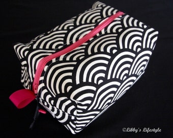 Japanese wave toiletry bag. Handmade. Moisture resistant travel bag.