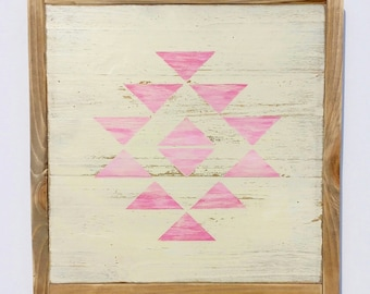 Distressed Wood Sign - Pink Aztec Pattern