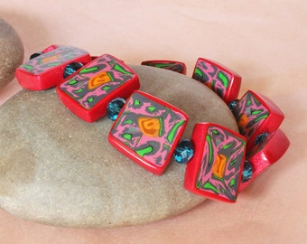 Bead Bracelet - Handmade Polymer Clay Bracelet - Designer - Red Braclet - Hippy Bracelet -Abstract Tiles