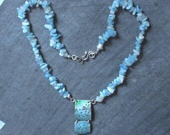 Silver Necklace, Handmade Necklace - Enamel Pendant- Moonstone Necklace - Aquamarine Necklace - Sterling Silver Jewellery