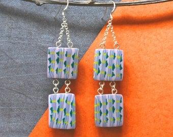 Earrings Handmade Polymer clay and silver earrings Artisan, patterned tile drop earrings - Delicate Pattern !