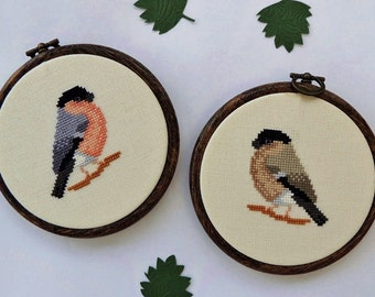 Cross stitch bird, Bullfinches cross stitch pattern. Cross stitch bullfinch. Bird pattern. Cross stitch chart. PDF instant download