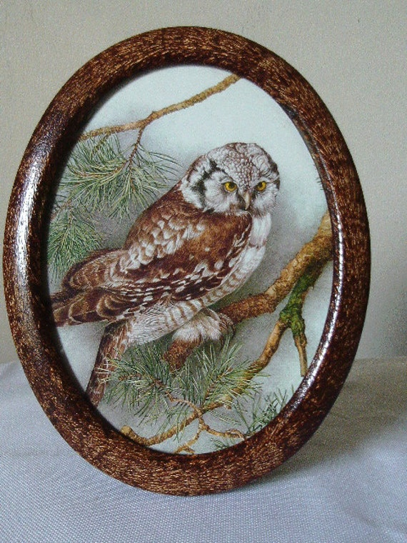 Oval picture frame vinegar painted in walnut