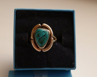 Vintage turquoise and .925 sterling silver ring