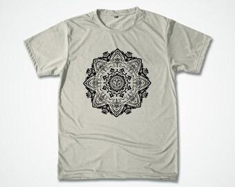 Yoga Shirt Mandala TShirt  Mantra  graphic Tshirt  Spiritual meditation yoga Aum hand screen printed tee - Gift for Him - S M L XL