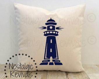 Nautical Lighthouse Pillow Cover, Beach House, Ocean, Seashore, Coastal, Tropical, New Home