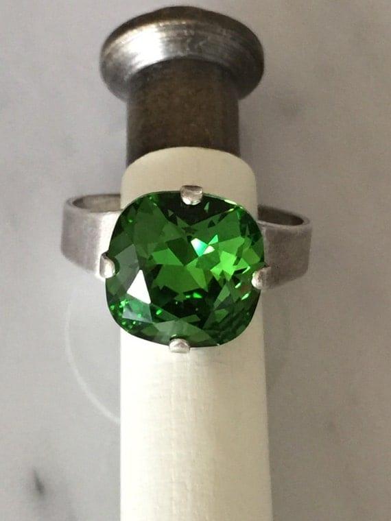 Swarovski Fern Green Ring, Green Crystal Ring, Fern Green Crystal Ring, Swarovski Green Crystal Ring