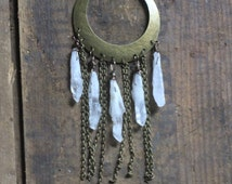 SALE crystal dreamer. quartz point cascading festival necklace