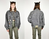 90s Leather Collar Black Denim Jacket, Faded, Distressed, Air Force Jacket, Patches, Cowboys Of The Sky, Oversized Jean Jacket