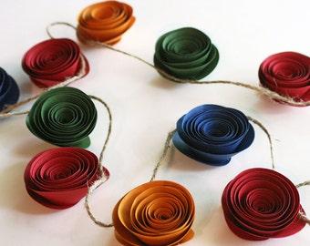 Paper Rose Garland - Paper Flower Garland - Rose Garland - Paper Garland - Party Garland - Wedding Garland - Shower Garland - Fall Garland