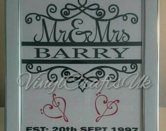 Mr&Mrs framed gift