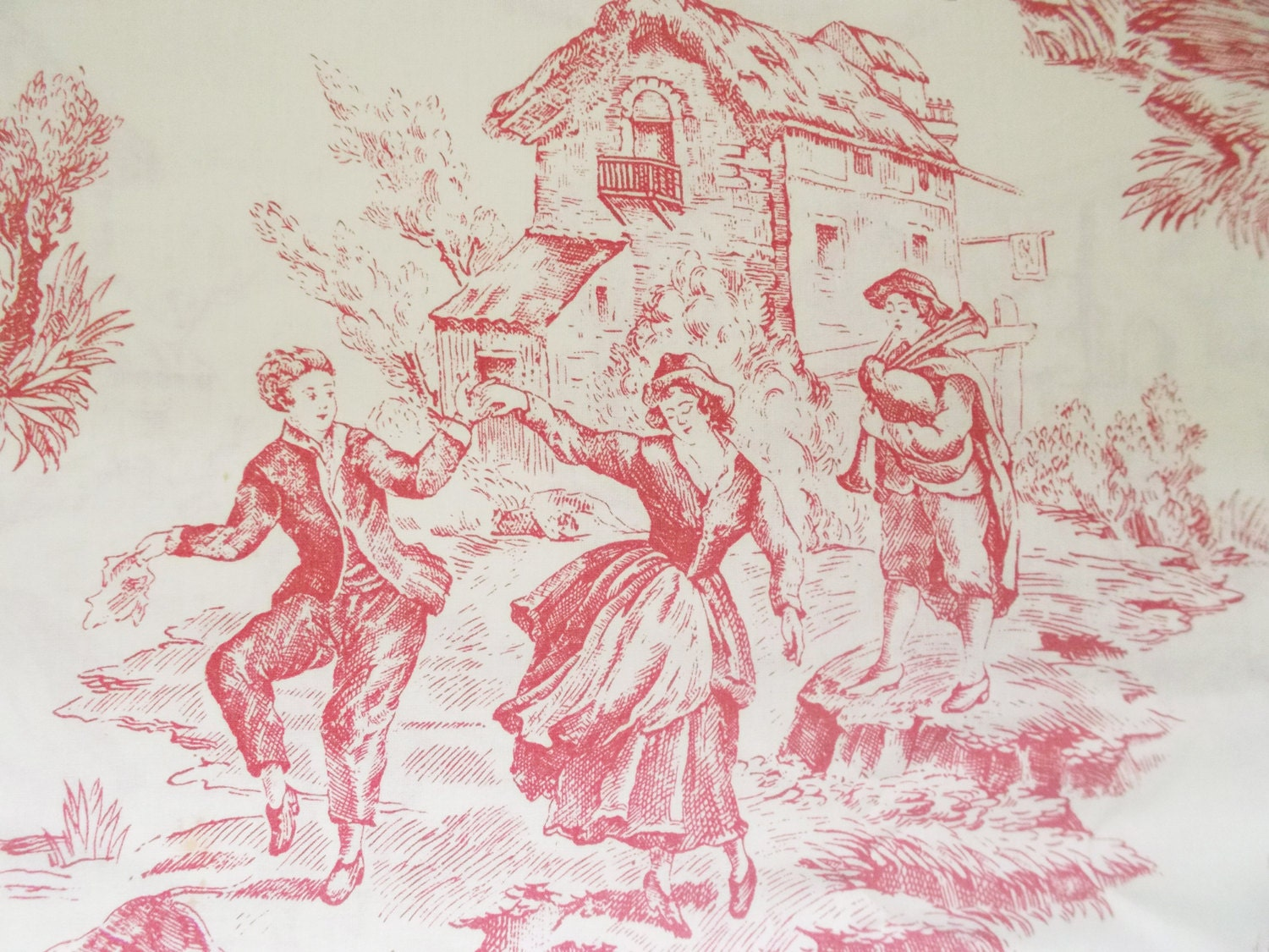 French vintage toile de jouy fabric cotton raspberry red on for French toile fabric