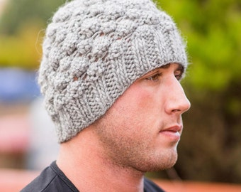Hat, Men, Grey, Hand Knit, Light Grey,  Acrylic, Beanie, Top Quality, Gift for him, Grey, Dark Grey,  Hand knitted.