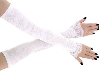 Bridal white velvet fingerless gloves, bridal lace white gloves, velvet gloves, gloves in wedding  style, women's fingerless gloves 1085