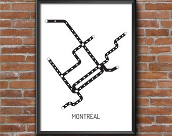 Subway map Montreal - Urban Wall digital art, deco