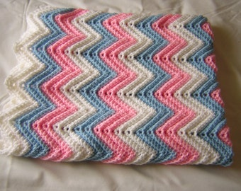 Crochet Baby Afghan, Pink. Blue and White, Baby Blanket for Boy or Girl, Handmade - READY TO SHIP
