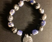 "Lapis, Black Moonstone, and Black Onyx Tree of Life/""Life is a Gift"" Bracelet Healing Crystals FREE SHIPPING!"