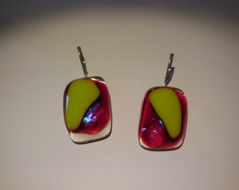 Striking Apple Green and Red Fused Glass Earrings