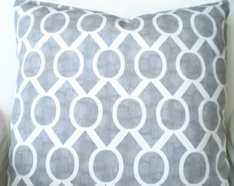 Gray White Pillow Covers, Decorative Throw Pillows, Cushions, Grey White Geometric Sidney Couch Pillows, Throw Pillow Euro Sham ALL SIZES