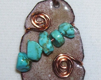 Enameled Copper Pendant with Wired Spirals and Turquoise Beads