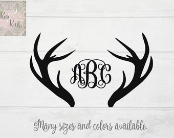 Antler Monogram, Deer Monogram, Hunter Monogram, Hunting Monogram, Hunting Decal, Boho Monogram, Hunter Car Decal, Truck Decal