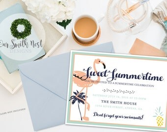 Summertime Invitation DIY PRINTABLE Customizable Digital Prints