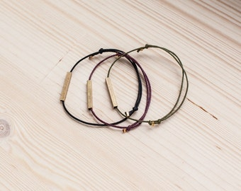 Square Brass Tube Bracelet - Minimalistic Bracelet - brass/copper tube - black/raspberry/olive - simple minimal design - friendship