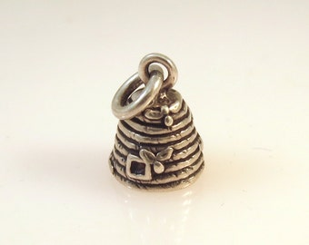 Sterling Silver 3-D BEEHIVE Charm Pendant Garden Insect Bug Bee Hive Honey Small Cute .925 Sterling Silver New ga28