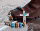 BOOT JEWELRY ~ Boot Bling ~ Boot Bracelet ~ Boot Anklet ~ Sideways Cross Connector ~ Southwestern Jewelry ~ USA shipping 3.00