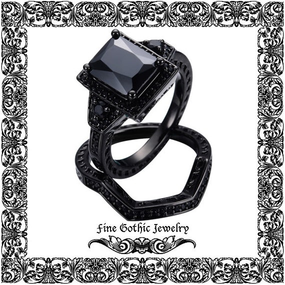Gothic Wedding Rings Black Wedding Ring By FineGothicJewelry