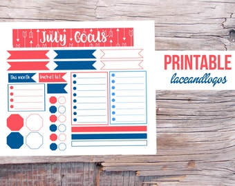 Printable Planner Stickers July Goals  Notes Page Monthly Overview Month Goals This Month Red White Blue  Glam PlanningFor Erin Condren