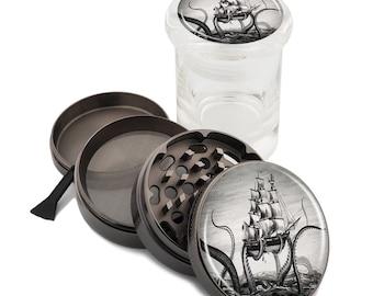 "Kraken Attacks Pirate Ship Zinc Grinder and Glass Jar Combo Set! 2.5"" Wide 63mm Titanium Herb Grinders Pop Top Vintage Nautical Monster"