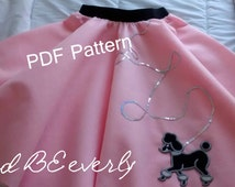 Easy Teen/Women Poodle skirt PDF Pattern for waist size 20 to 60 inches! Make fun 50s skirts with this pattern! Downloadable pattern/ DIY