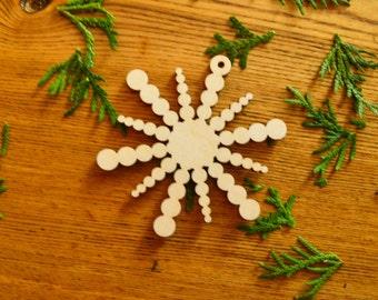 Wood snowflake / Christmas ornament / Wooden snowflakes / Natural Decoration
