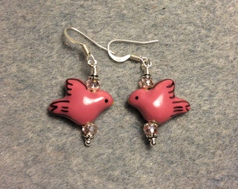 Pink ceramic dove bead earrings adorned with pink Chinese crystal beads.