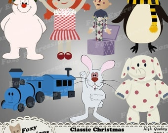 Classic Christmas Characters digital clip art pack comes with Frosty, topper, rabbit, & the gang of misfit toys like charlie in the box,etc