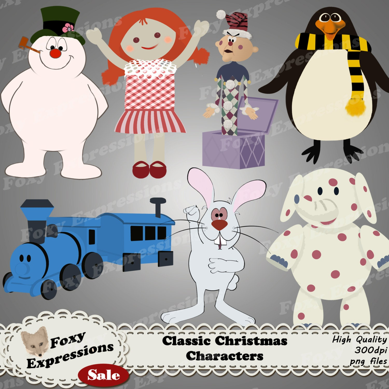 Classic Christmas Characters digital clip art pack comes with