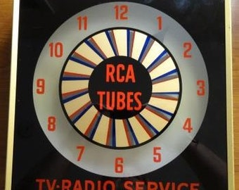 Vintage Advertising Spinner Clock RCA Tubes TV Radio Service  1960s