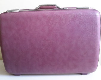 Vintage Purple American Tourister Suitcase.