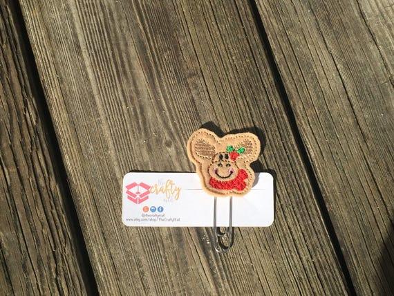 Christmas Moose Planner Clip/Paper Clip/Feltie. Christmas Planner Clip