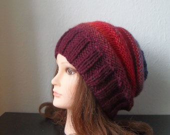 Women hand knitted multicolor slouchy beanie hat