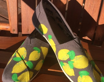 Hand Painted Lemon TOMS