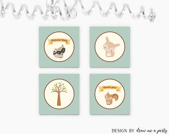 Woodland Boy Baby Shower , Woodland Cupcake Toppers , Woodland Party Circles , Woodland Tags , Printable , Instant Download