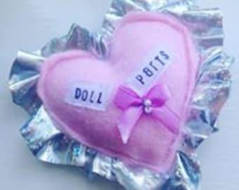DOLL PARTS Kawaii pin/brooch/bag charm/badge/accessory. Handmade textiles, Free UK p&p!
