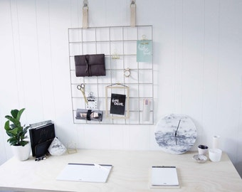 Grid Mood Boards - Metal Grid with Leather Straps - Metal Grid Memo Board // White