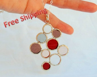 Colorful necklace with red bubbles pendant, glass and silver pendant, stained glass