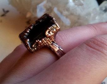 black tourmaline copper electroformed ring