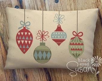 """Christmas Ornament Pillow Cover   Burlap or Natural 100% Cotton Canvas   12"""" x 18"""" or 16"""" x 23"""""""