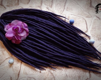 "Wool Dreadlocks Dreads Full Set DE "" Magic Amethyst "" Double Ended"
