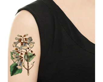 Temporary Tattoo - Vintage Floral - Buttercups or Blue Bells - Various Sizes / Tattoo Flash